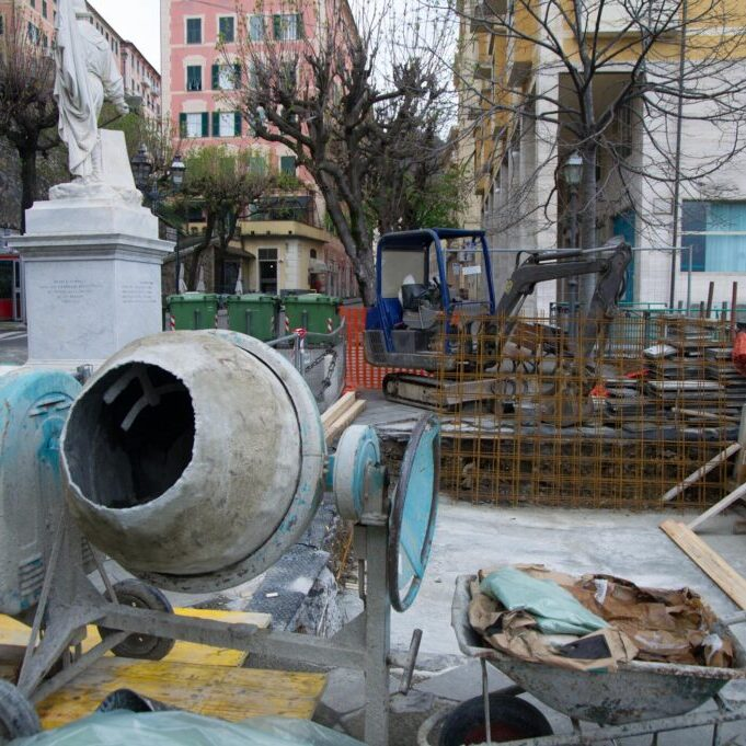 a cement mixer on the construction site