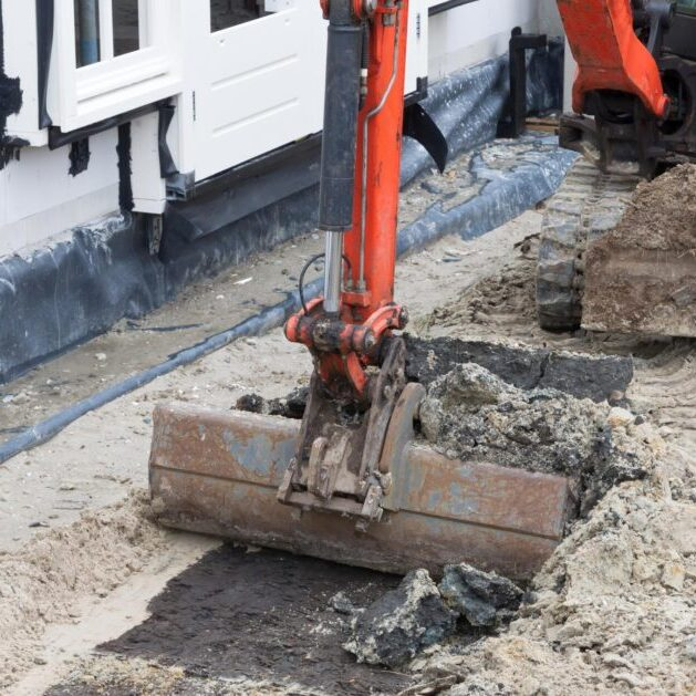 an excavator truck on the site